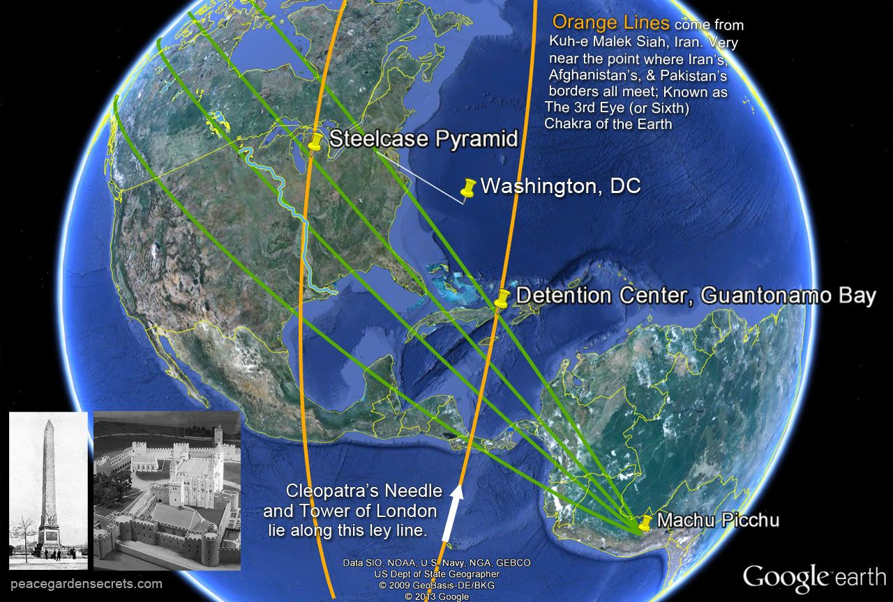 Magnetic Ley Lines In America Machu Picchu Lines Of North - Washington dc pyramid map