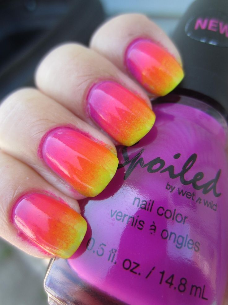 neon nail polish designs | Neon Rainbow Ombre Nail Polish Design ...