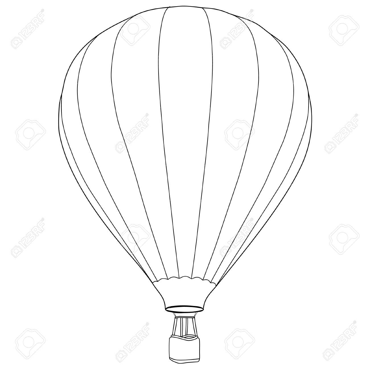 Vintage Hot Air Balloon With Basket Vector Icon Isolated, Summer ...