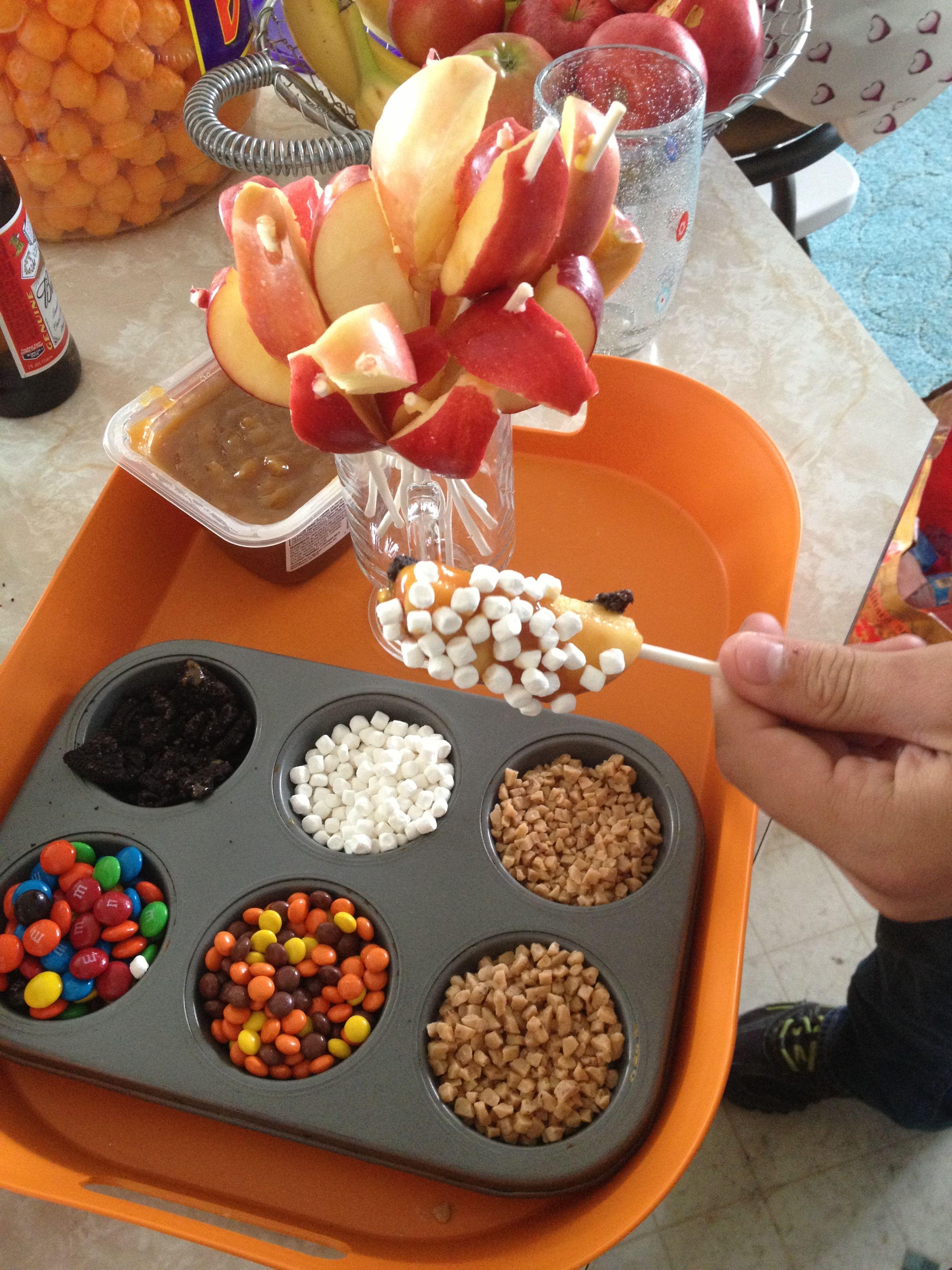 Caramel Apple Dipping Station Mesa De Dulces Desayuno Divertido