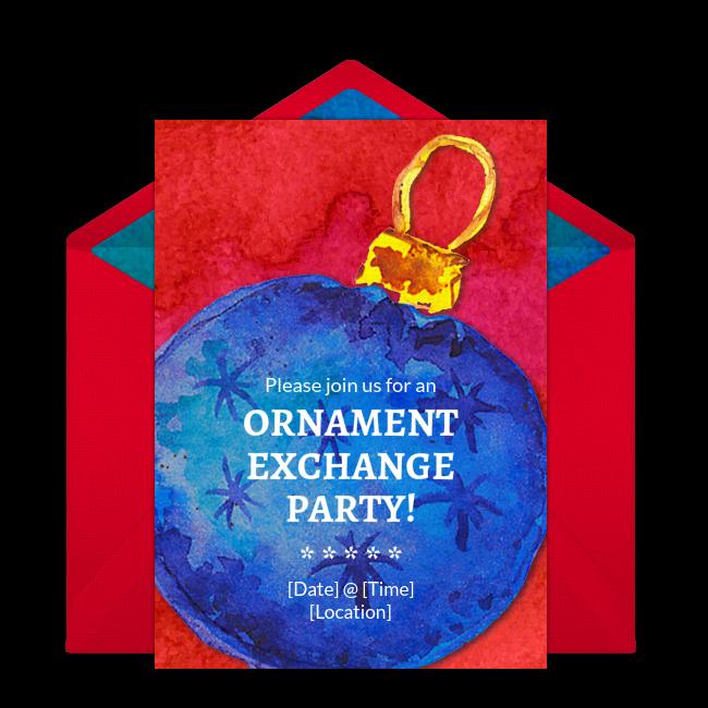 Free Ornament Exchange Invitations