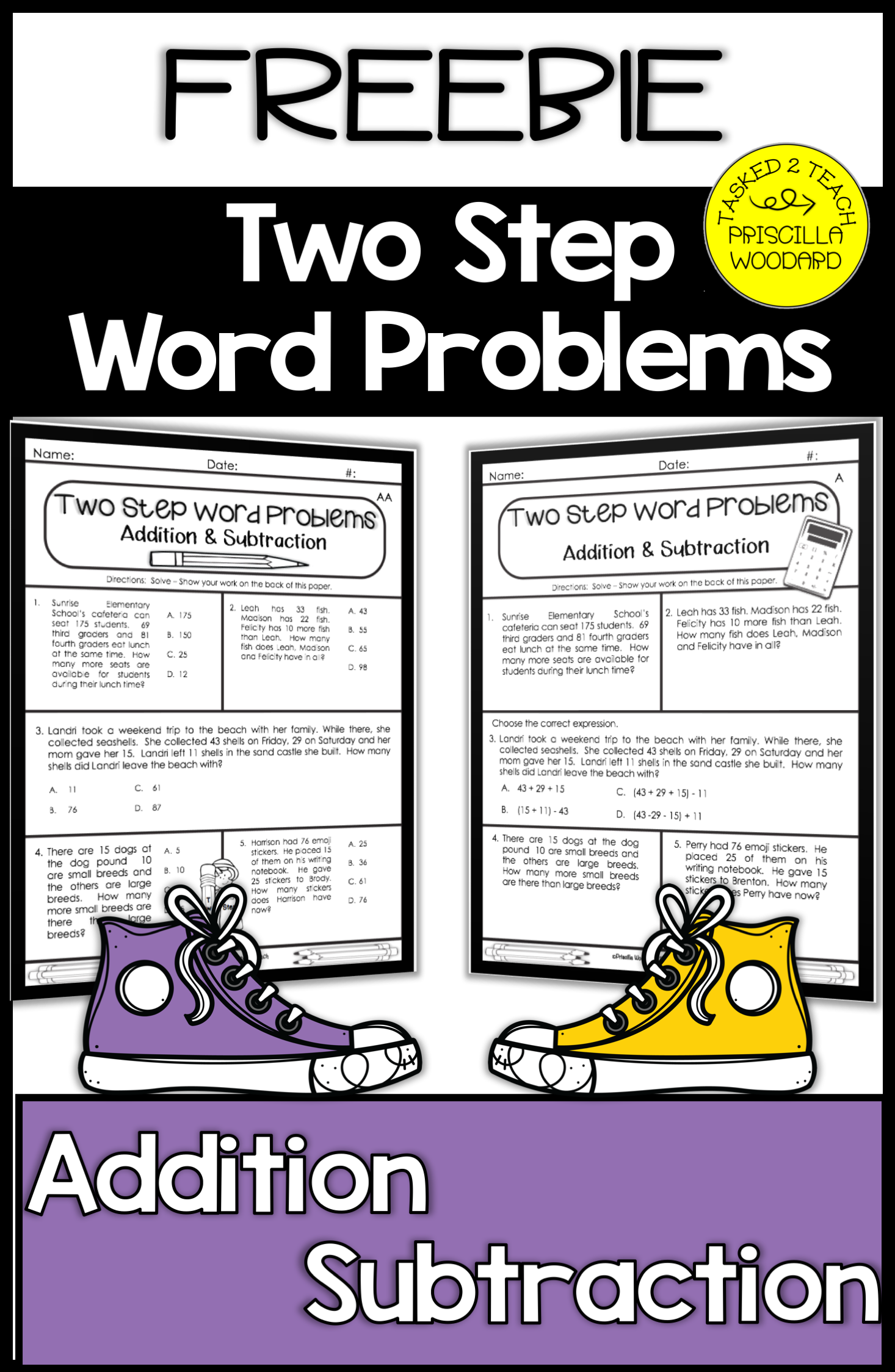 Two Step Word Problems Addition And Subtraction Worksheets
