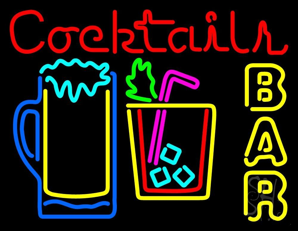 Cocktails Bar Open Neon Sign in 2020 | Neon signs, Neon