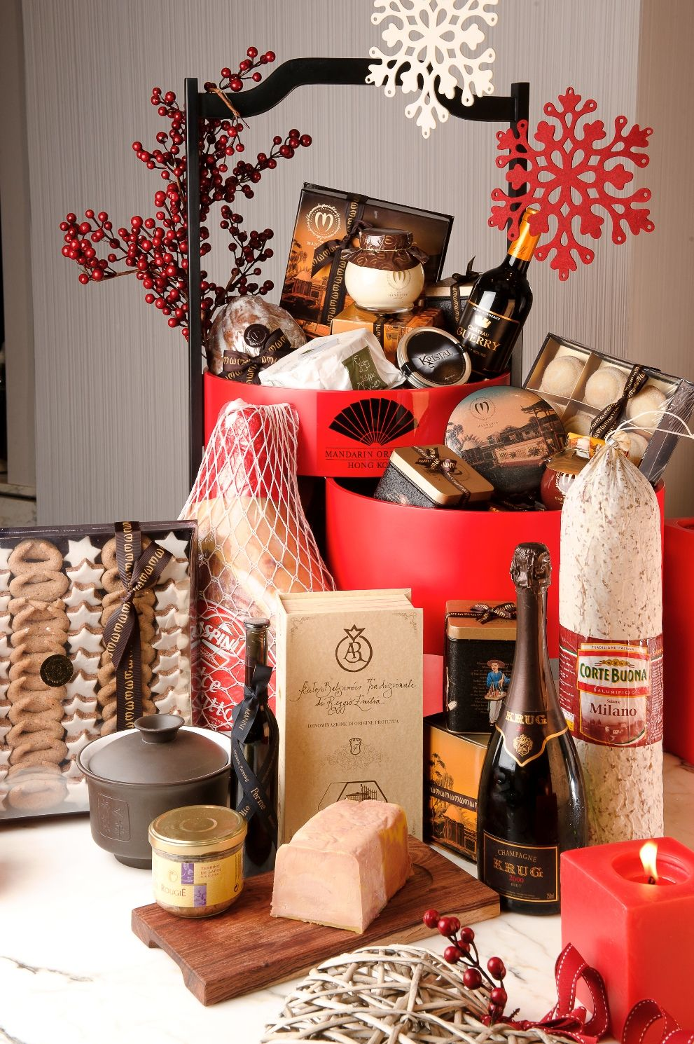 Gift wrapped christmas hampers hong