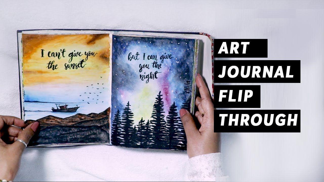 My First Art Journal Flip Through 2018 Sketchbook Tour
