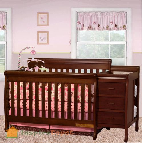 Multi Function Cherry Solid Wooden Baby Crib Combo Dresser Changing Table Pad Wooden Baby Crib Crib And Changing Table Combo Baby Cribs Baby crib and dresser combo