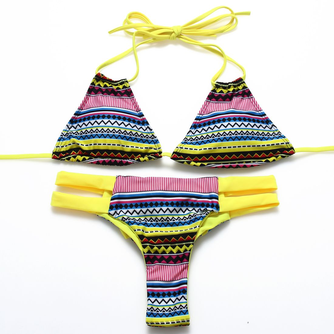 ef598237edd53 Black white checkered Brazilian bottom low waist halter Women bikini ...