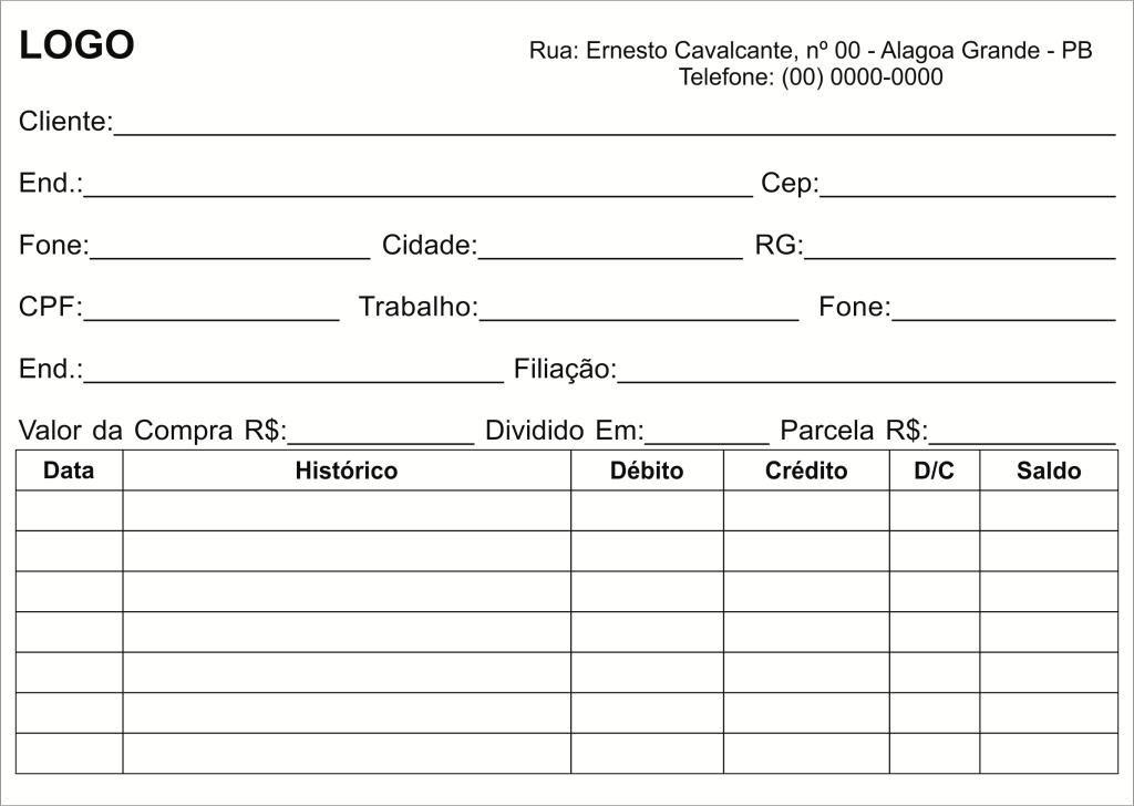 Ficha Para Cadastro E Controle De Clientes Cadastro Em