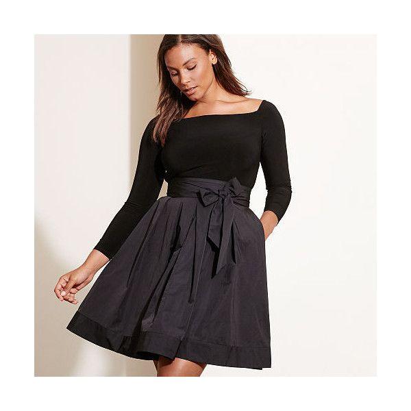 233ac1b4fd Large Size Clothing · Ralph Lauren Lauren Woman Jersey-Taffeta Dress ( 150)  ❤ liked on Polyvore featuring