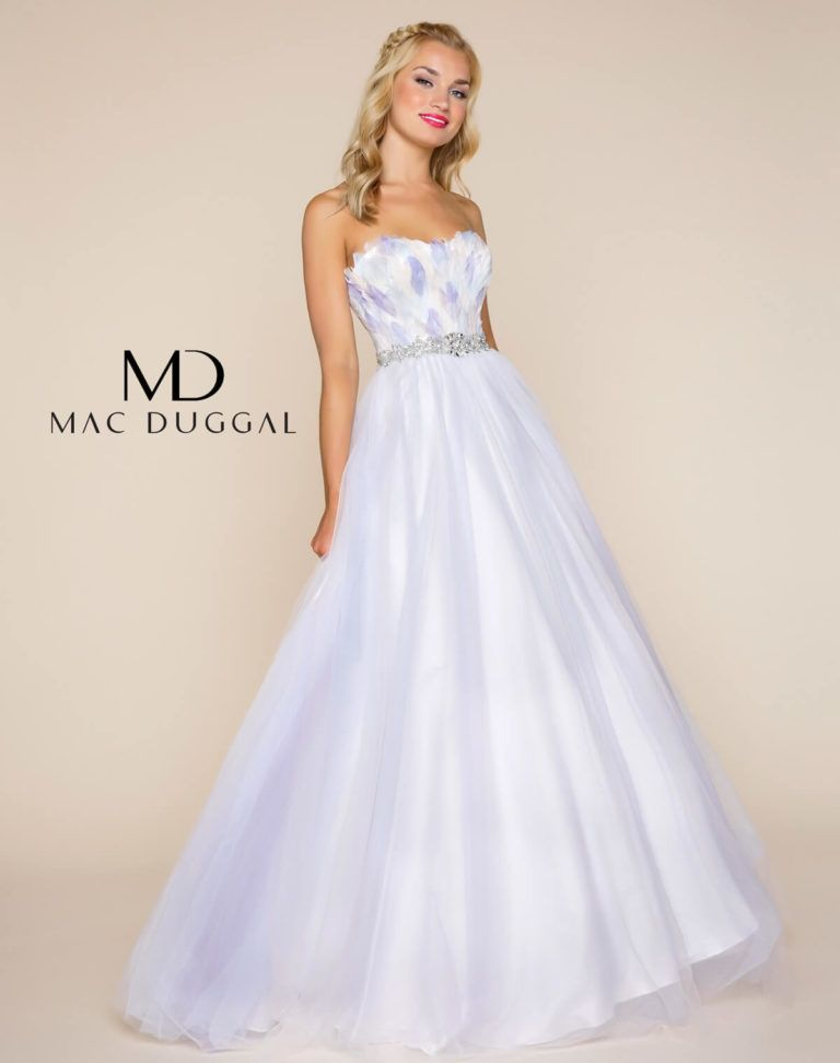 Pastel/Multi, strapless, sweetheart neckline, open back, floor length ball gown with hand sewn feathered bodice, beaded waistline and tulle skirt with white satin lining.