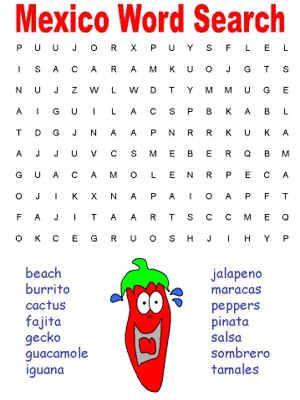 Mexico and Cinco de Mayo Word Searches | Party Ideas