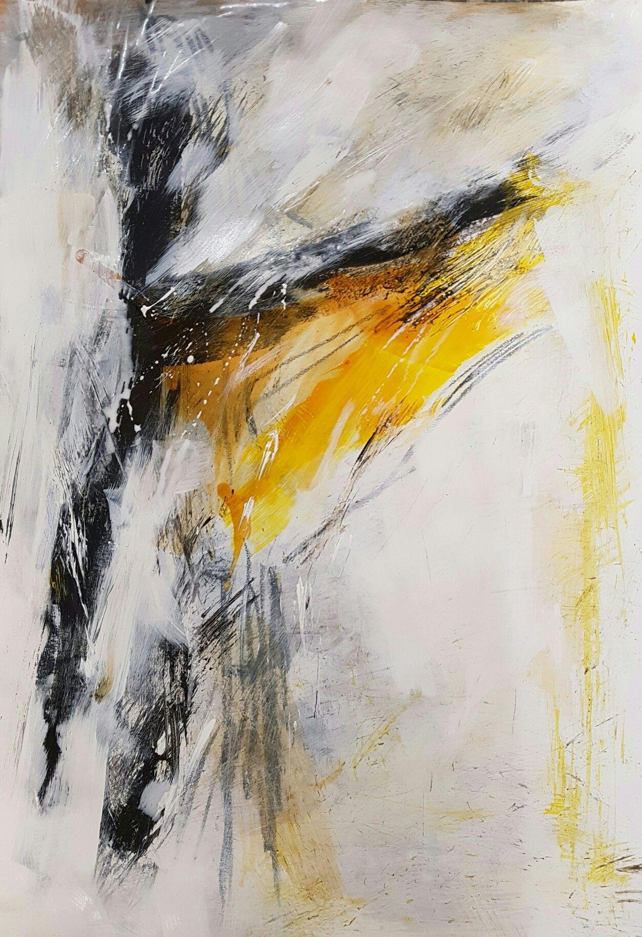 Abstrakte, moderne Kunst, Acrylbild, Weiß, Schwarz, Gelb ...