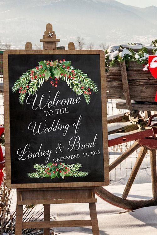 Winter Wedding Decor - Chalkboard Wedding Sign - Wedding Rustic Decor - Personalized Wall Art