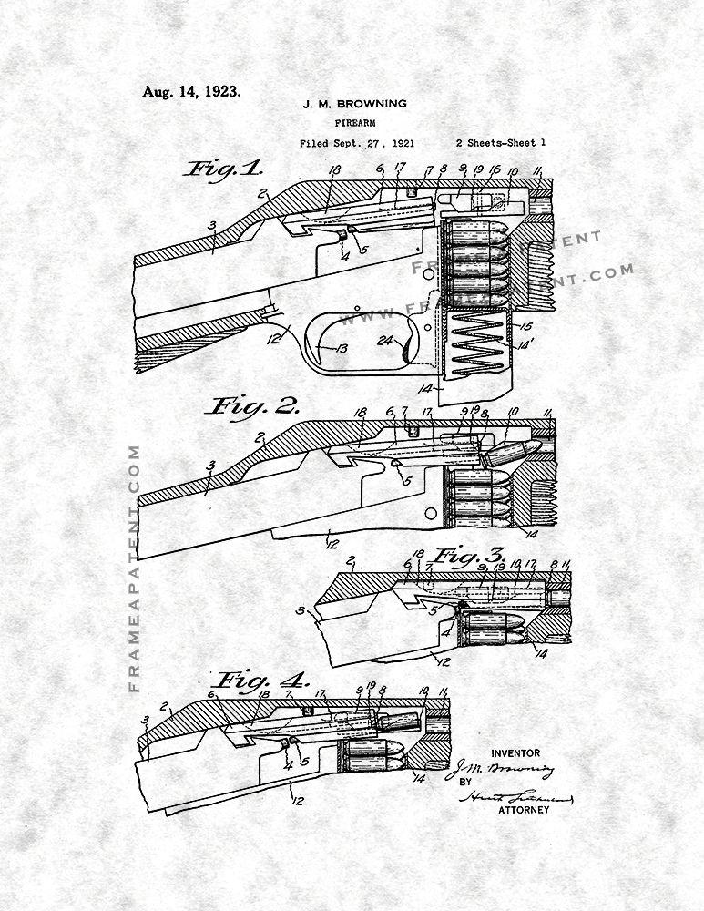 Browning Firearm Patent Print