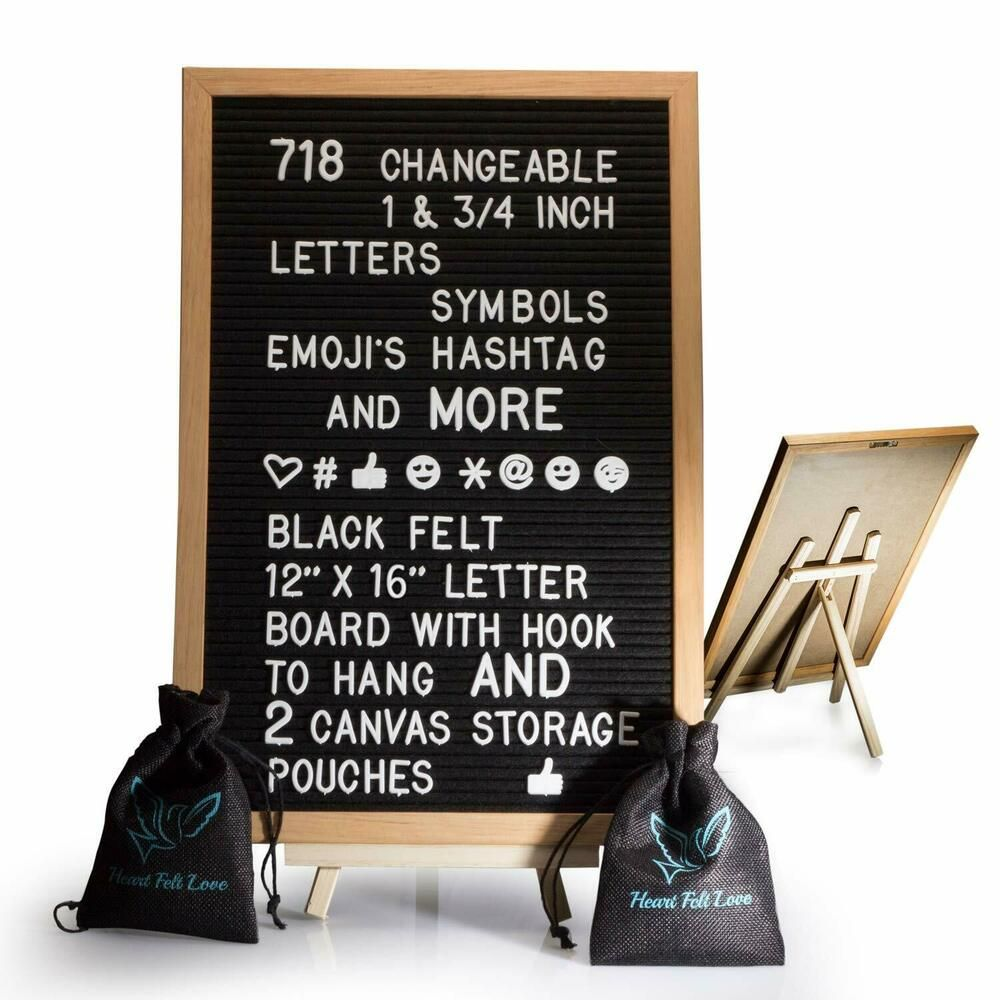 Black Felt Letter Board With Easel Stand 12 x 16   718 Changeable Characters Inc #fashion #home #garden #homedcor #messageboardsholders (ebay link)