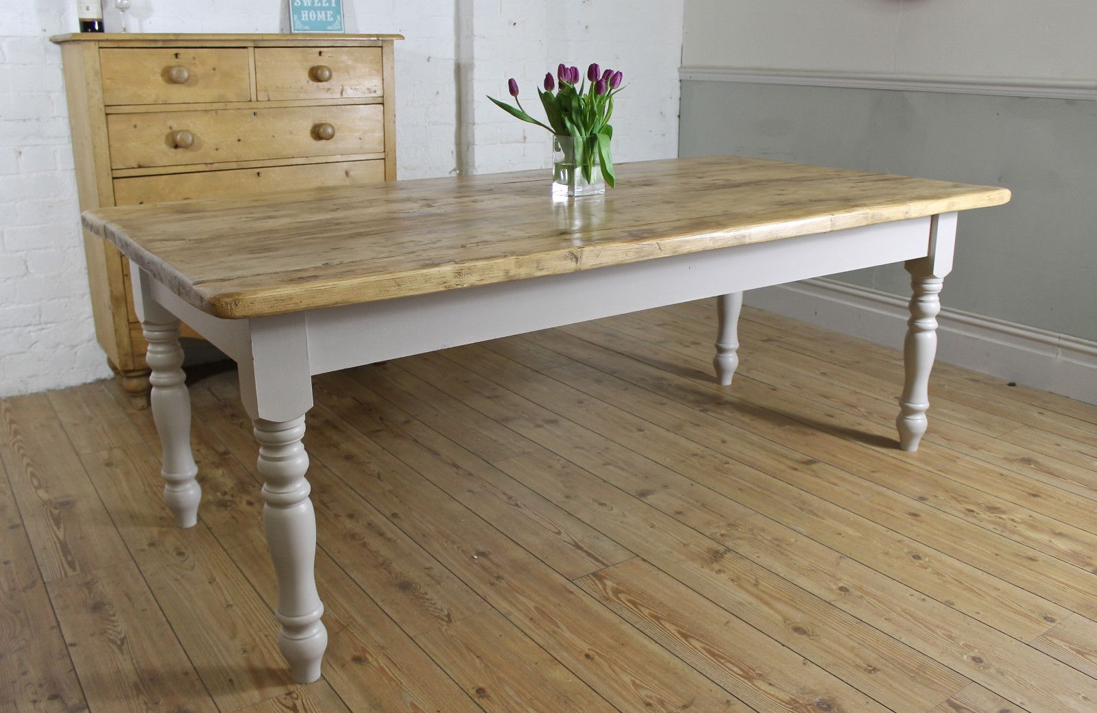 Stunning Rustic Farmhouse 7Ft Shabby Chic Large Solid Pine Dining Table