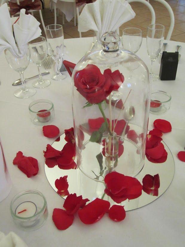 décoration table centre de table thème Belle et la Bête/ (bordeaux et blanc