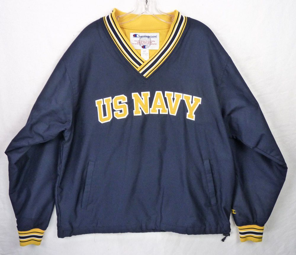 18394bfa27 Champion US Navy Military Academy V-Neck Pullover Windbreaker Jacket Mens M/L  #Champion #Windbreaker