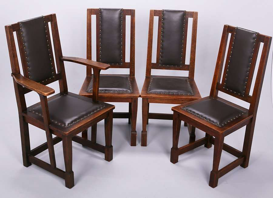 Set of 4 Stickley Brothers upholstered-back dining chairs. 3 side ...