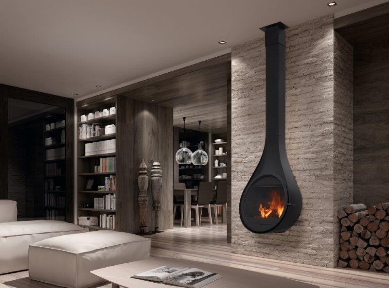 Cinco ventajas de la chimeneas metálicas, Chimenea Rocal Drop - chimeneas modernas