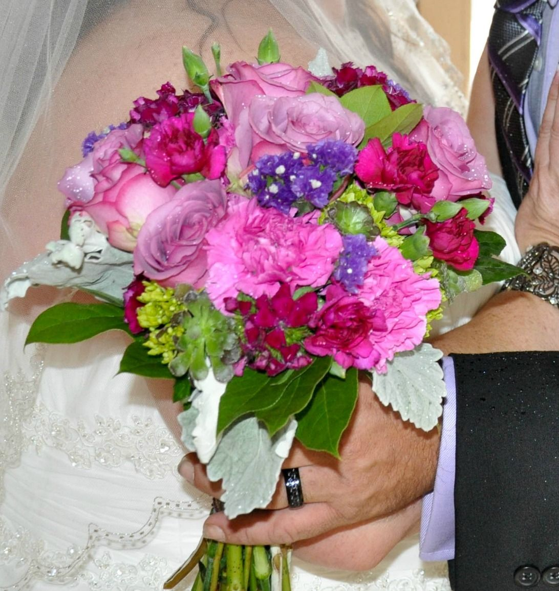 Bridal bouquet using lavender roses, pink carnations, magenta mini ...