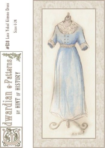 1910s Lace Insertion Dress /& Drawstring Slip 6-24 Hint of History Sewing Pattern