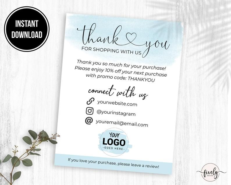 Thank You Business Card Template Custom Thank You Cards For Etsy Customer Thank You Note Business Thank You Cards Custom Thank You Cards