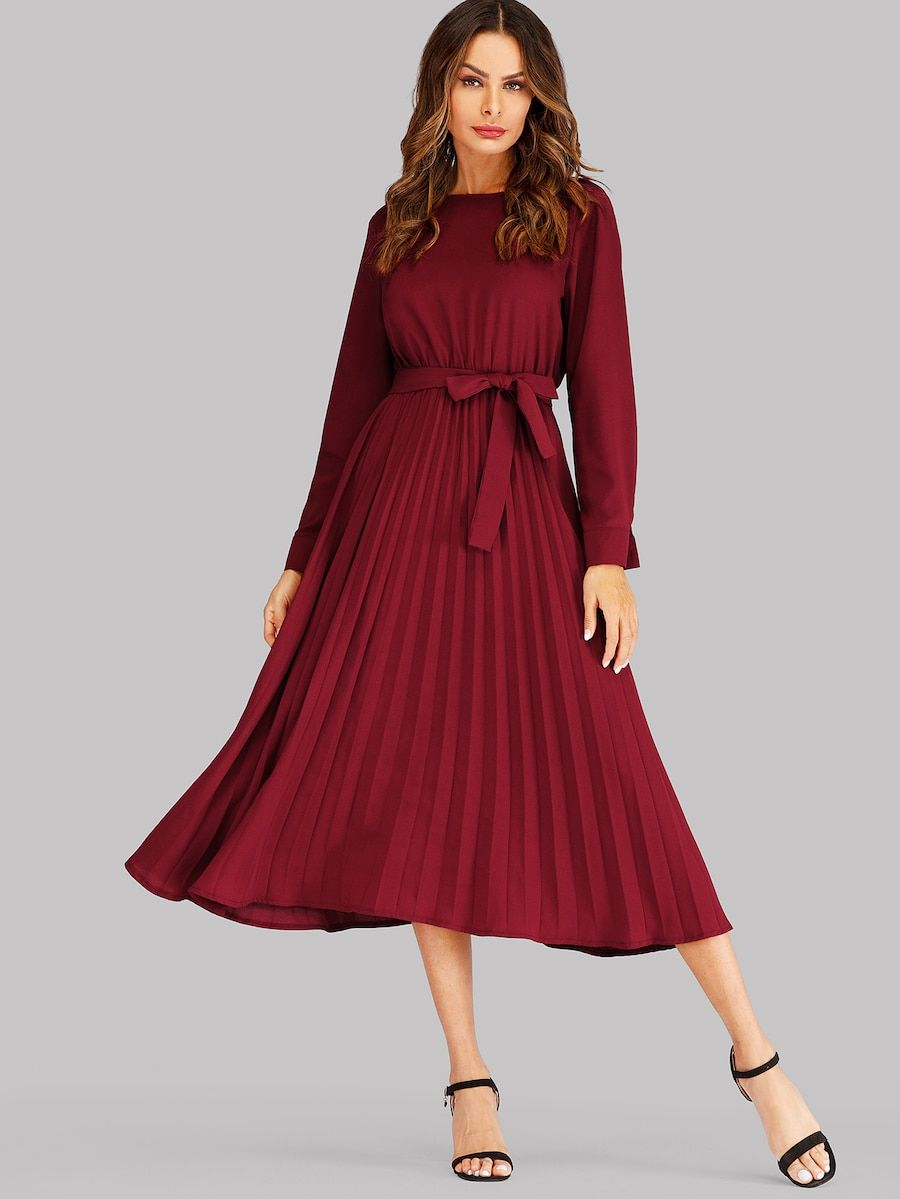 c12bd7874e Self Tie Pleated Dress | Clothes 2.0 in 2019 | Pleated midi dress ...