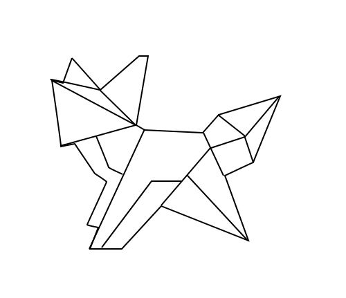 geometric fox loup renard geometrique animaux origami dessin origami dessin et g om trie. Black Bedroom Furniture Sets. Home Design Ideas