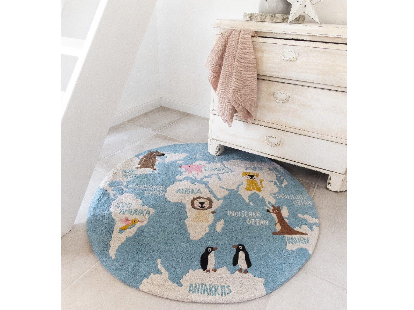 Weicher Teppich Für Kinderzimmer.Kinderteppich Aus Bio Baumwolle Weltkarte Von Hans Natur