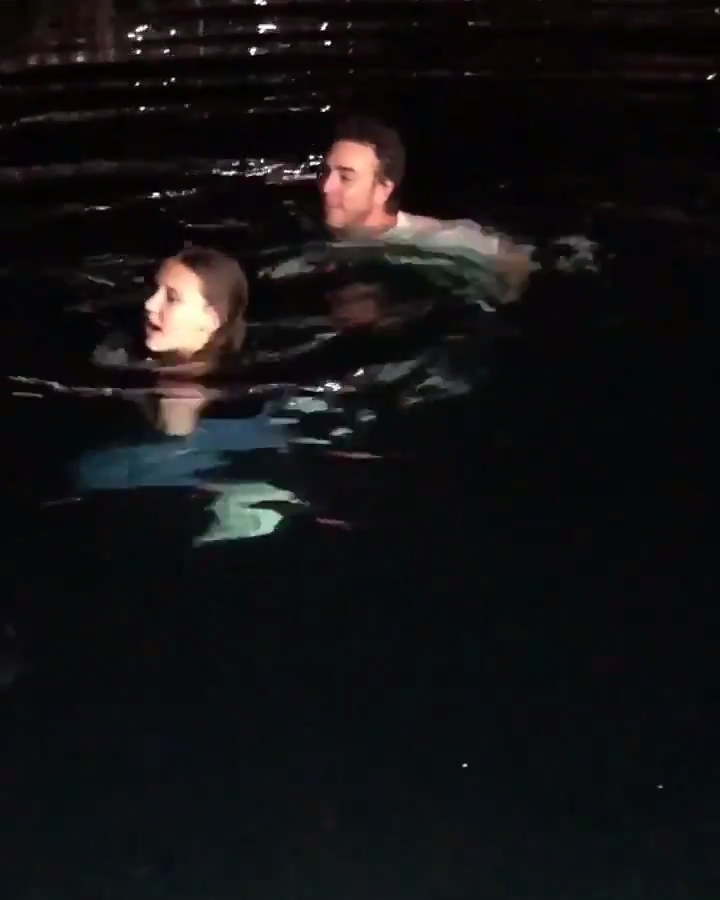 Millie Bobby Brown and Director Shawn Levy - Post Filming Swim - Behind the Scenes