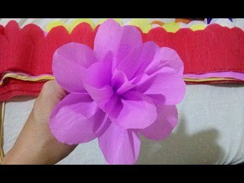 Como Fazer Flores De Papel Crepom Youtube Flores De