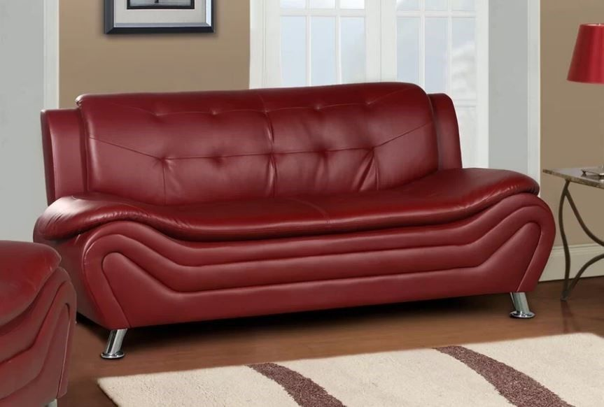 8 Red Faux Leather Sofa Options That Make a Statement | Faux Leather ...