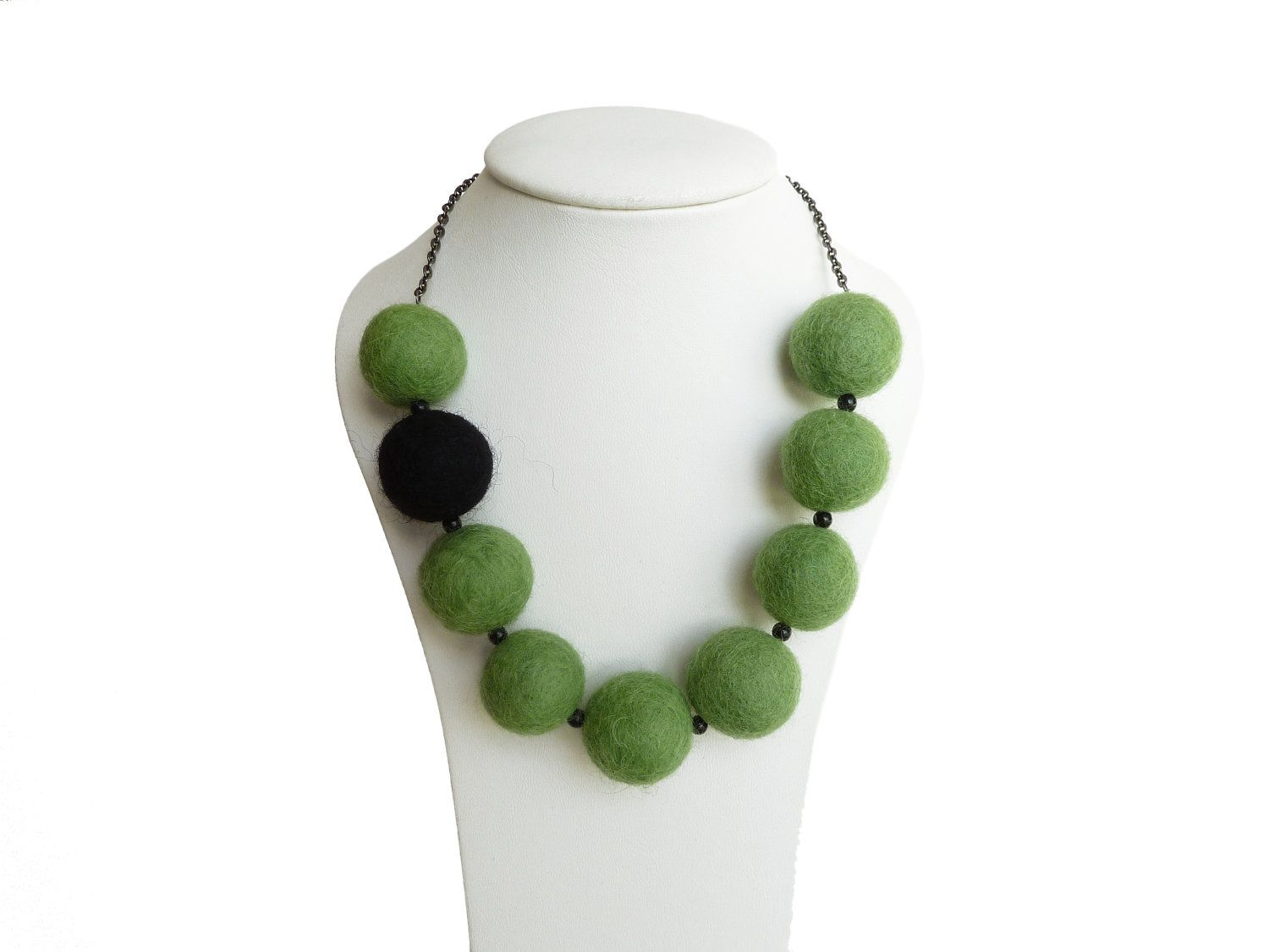 Lime Green Necklace - Olive Green Felt Necklace - Felt Bead Statement Necklace - Chunky Felted Ball Jewelry. £15.00, via Etsy.