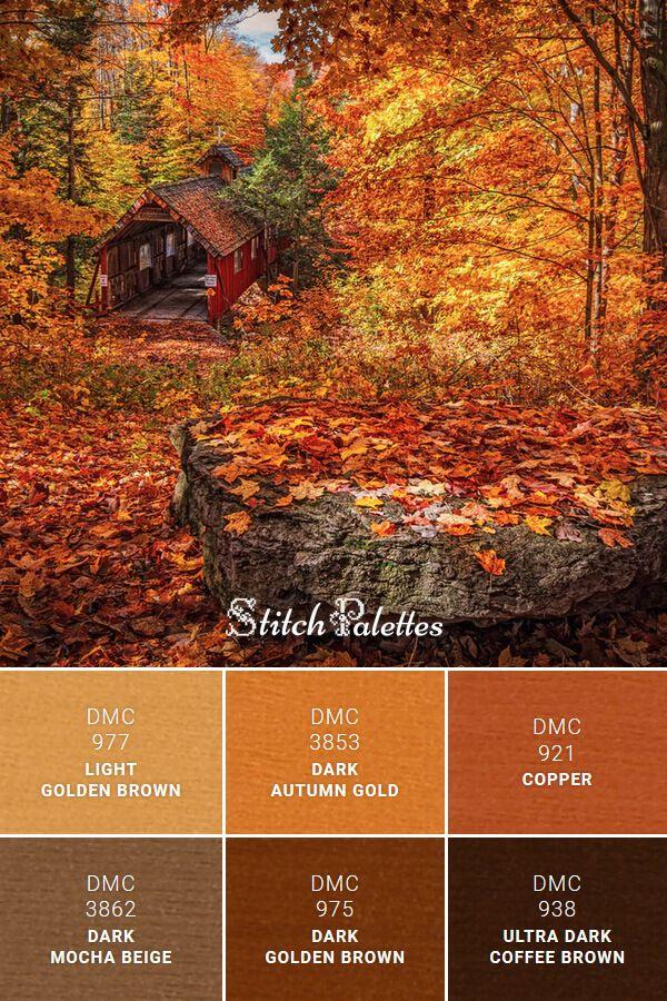 DMC Embroidery Thread Palette: Auburn Autumn