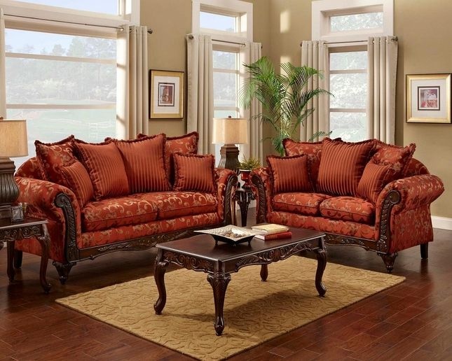 Magenta Traditional Victorian Sofa Set
