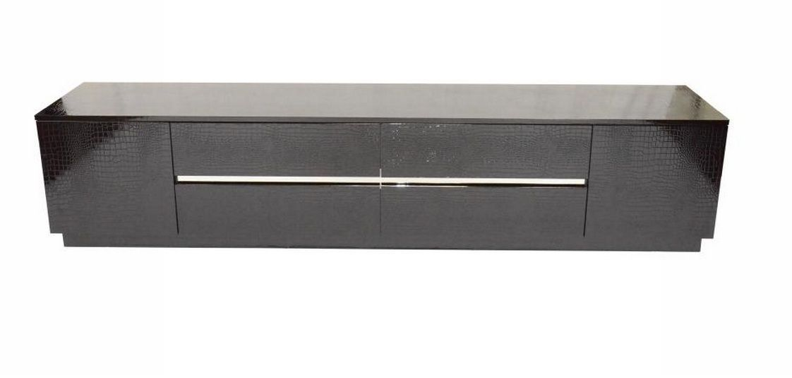 Best Contemporary Black Lacquer Tv Unit With Crocodile Texture 400 x 300
