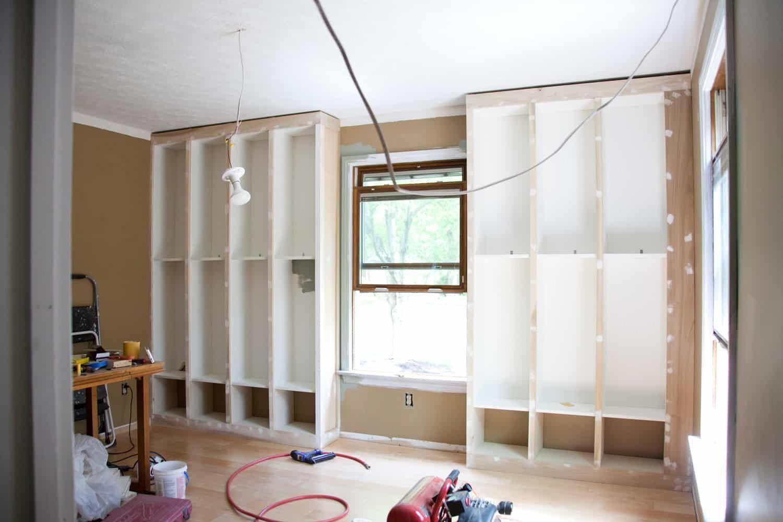 DIY BuiltIn Bookcase — IKEA Billy Hack shabbychictips