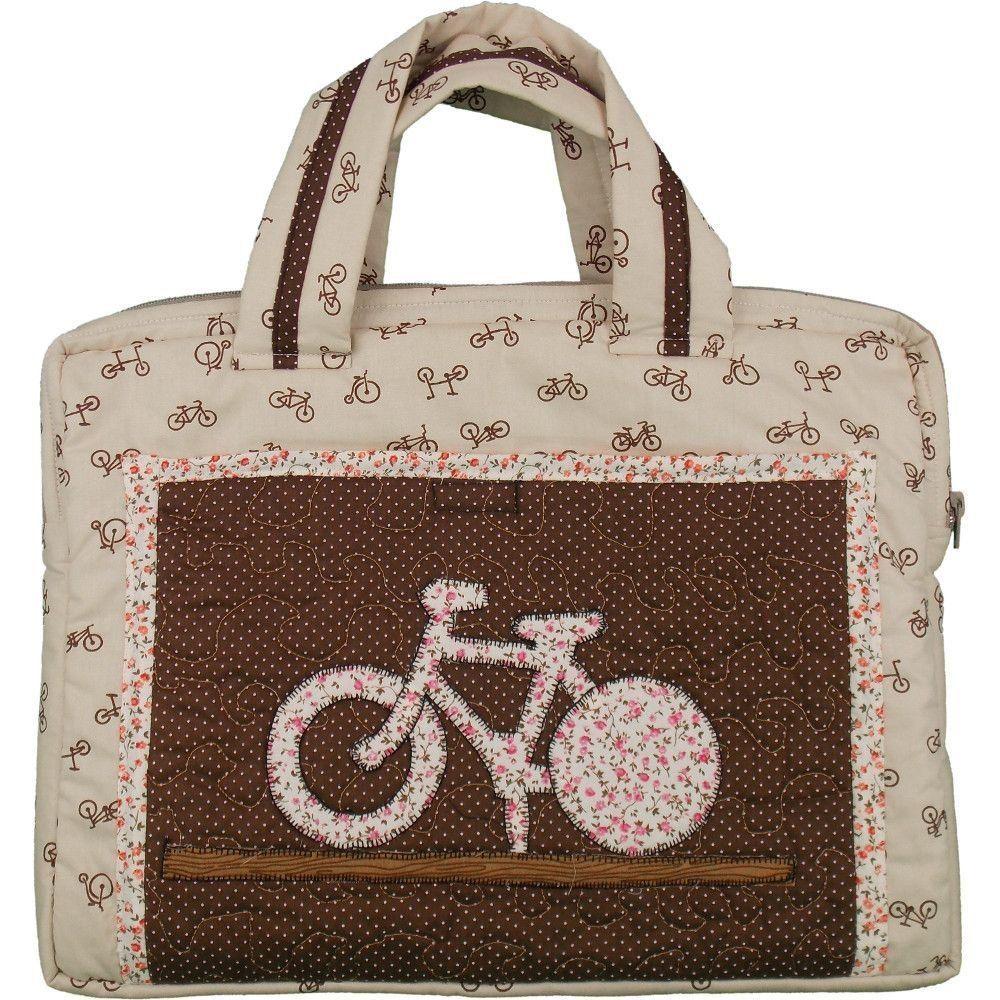 Bolsa De Tecido Para Notebook : Bolsa de patchwork para notebook bike artesanato