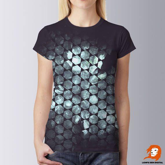 Hexagons t-shirt, All over print shirt, Festival shirt, Hexes shirt, Shirt for boyfriend, Honeycomb shirt print, Psy shirt, Clubbing t-shirt