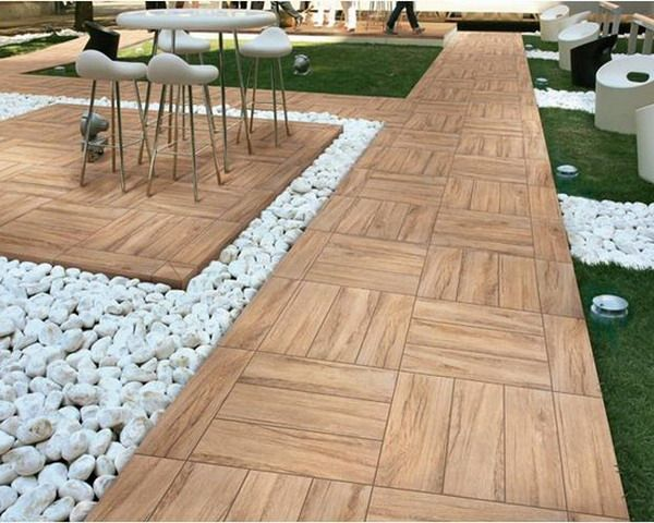 Elegant Nice Look Of Outdoor Porcelain Tiles Wooden Patio