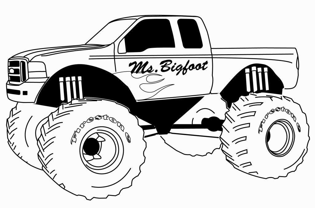 Ms. Bigfoot Monster Truck Coloring Page | Map\'s Monster Jam Truck ...