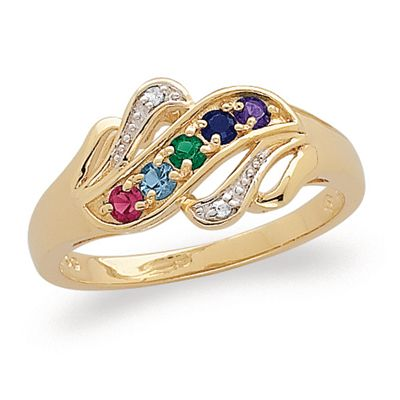 Zales Mothers Birthstone and Diamond Accent Family Tree Triple Row Ring (2-5 Stones) eMvMq