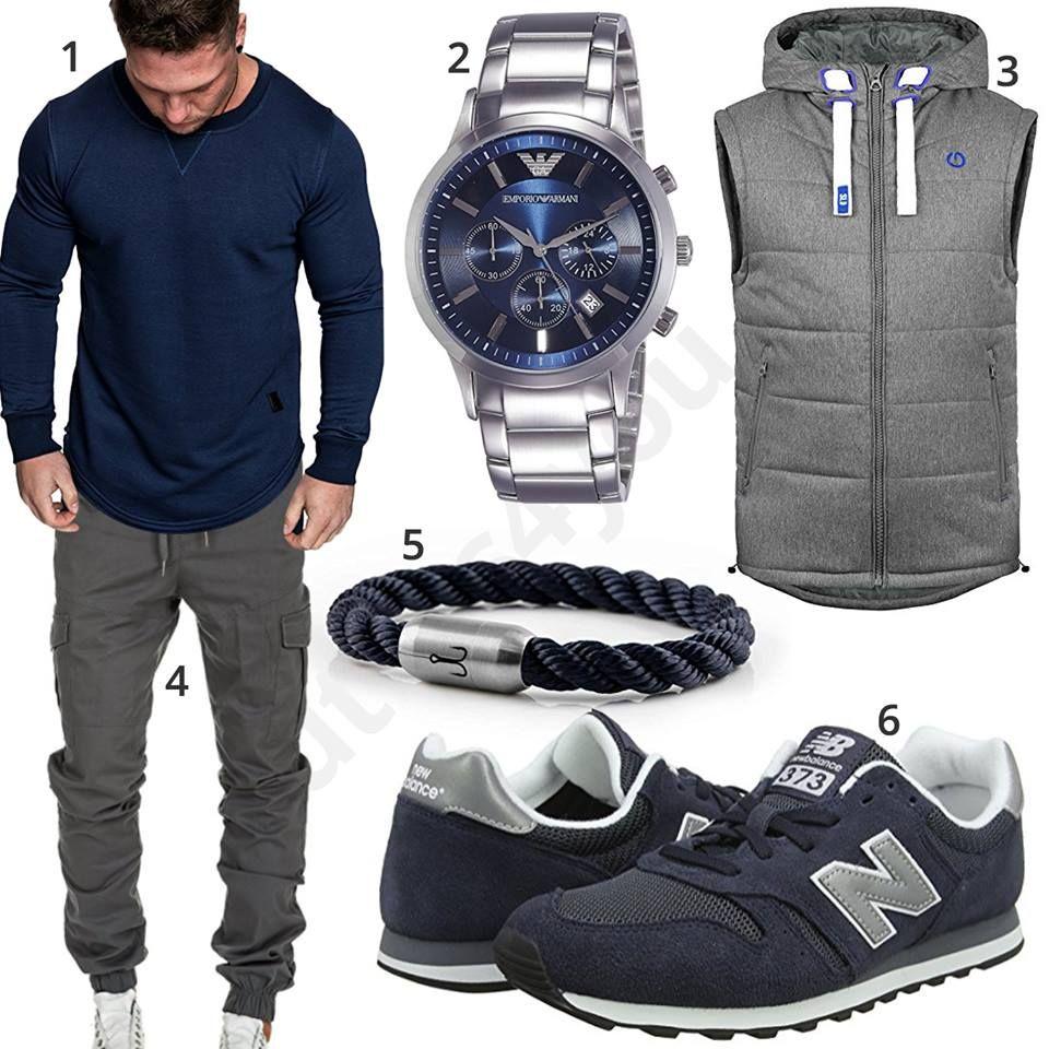 beste Qualität für außergewöhnliche Auswahl an Stilen günstig kaufen Blau-Grauer Herren-Style mit Cargo-Hose und Weste   outfits ...