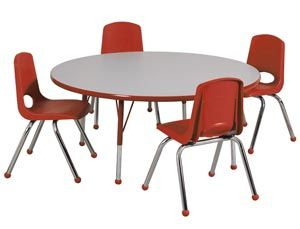 Spc 17103 Xxxsb 14 One 48 Round Activity Table Four 14 Stack Chair Package Round Dining Table Sets Round Table And Chairs Table