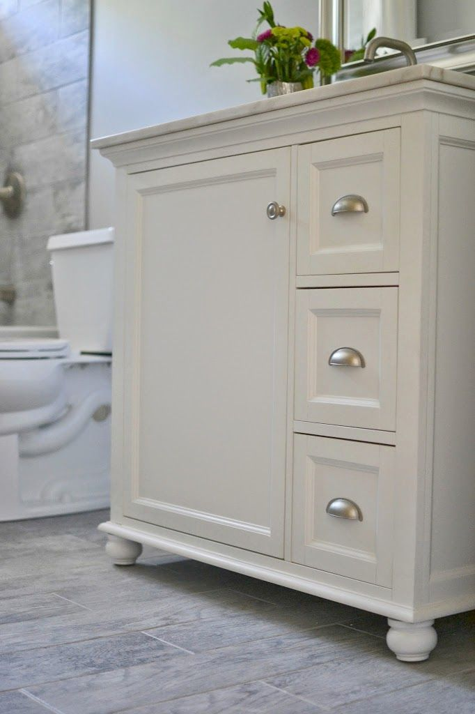 How I Renovated Our Bathroom On A Budget Behr Marquee Paint Behr - Small bathroom vanity with drawers