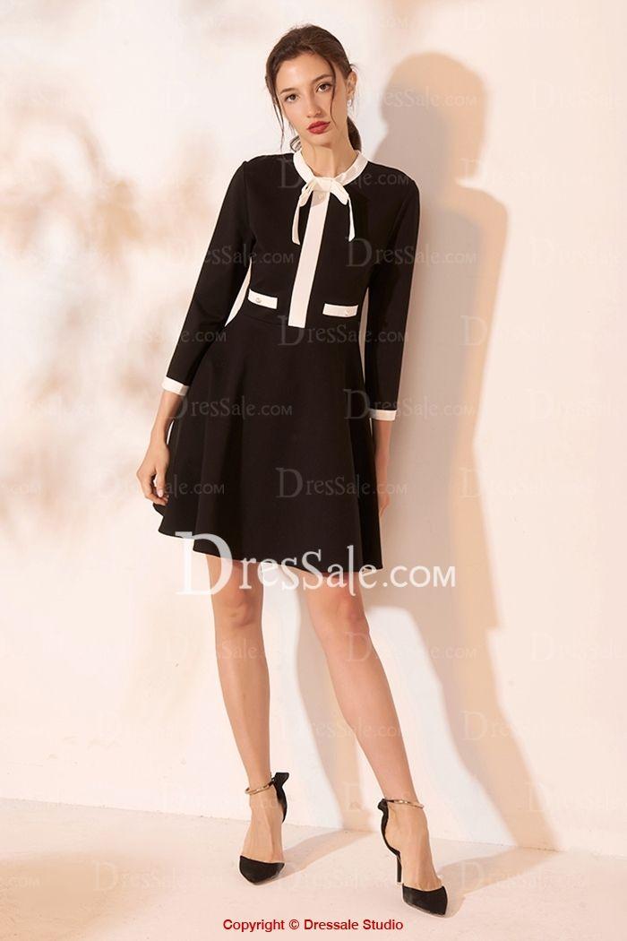 Chic Stand Collar Three-Quarter Sleeve Colorblock Mini A-Line Black Cotton Gradu…