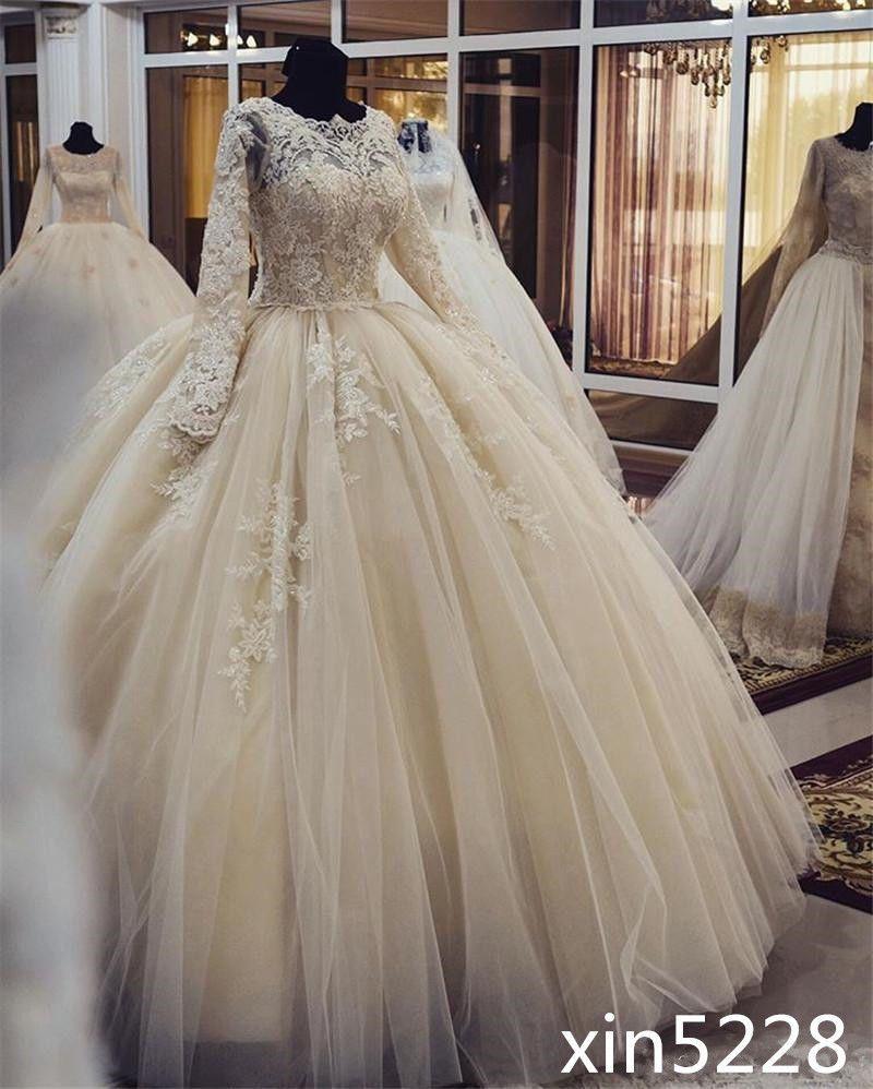 Awesome amazing muslim arabic ball gown wedding dress long sleeve