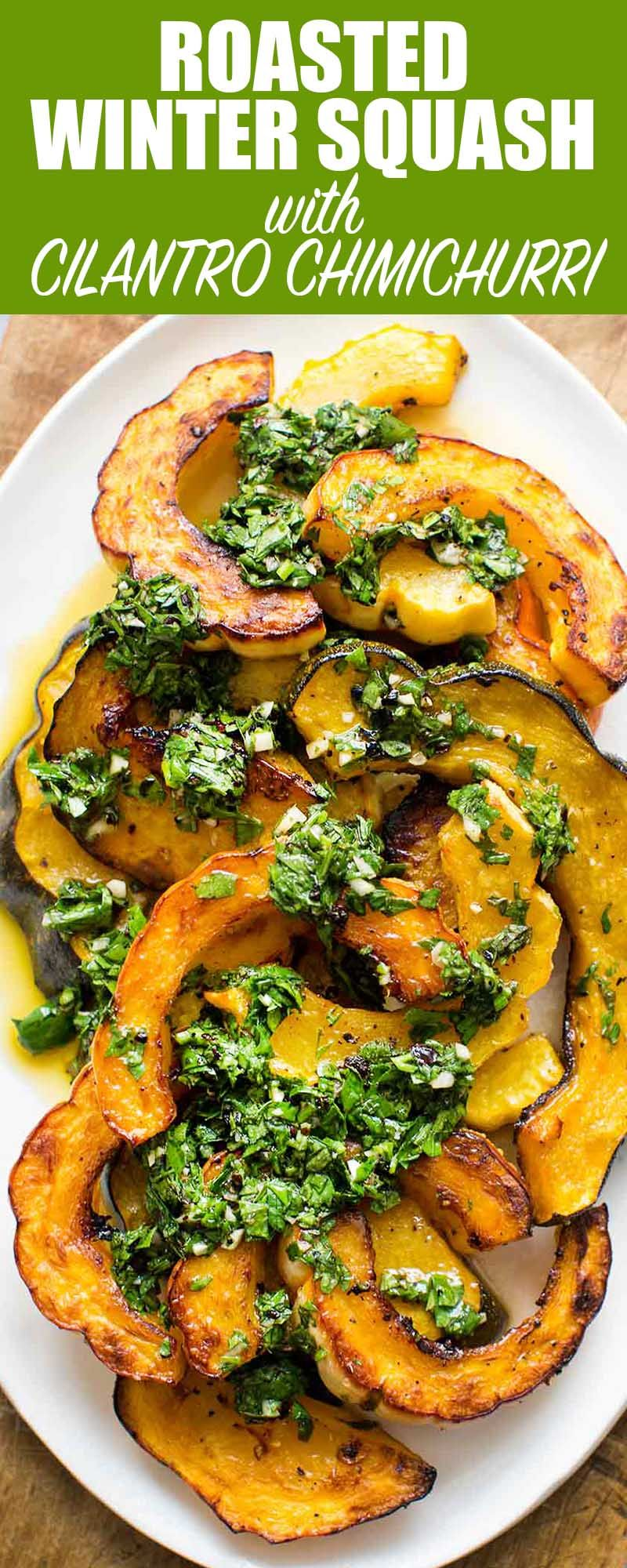 Roasted Winter Squash With Cilantro Chimichurri Recipe With