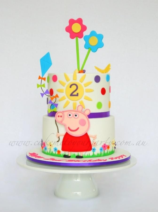 Two Tiered Peppa Pig Cake With Images Peppa Pig Cake Pig